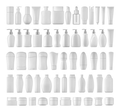 Beauty products set for body on white background. 3D illustration.