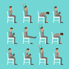 Vector illustration with office chair yoga. Businessman doing sun salutation stretching. Man in suit exercising on office chair. Icon set on blue background.