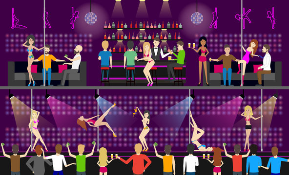 Strip dance club interior set. People relax and have fun.