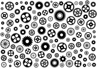Seamless texture or different gear wheels. Vector illustration.