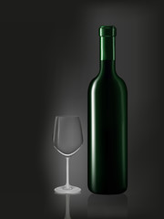 Wine bottle and emtry glass on black