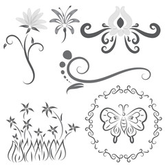 Vector of flower calligraphic design elements in black lines swirl on white background