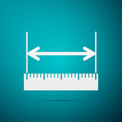 The measuring height and length icon. Ruler, straightedge, scale symbol flat icon on blue background. Vector Illustration