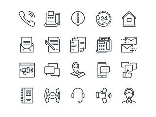 Contact us. Set of outline vector icons. Includes such as Operator, Support, Social and other. Editable Stroke. 48x48 Pixel Perfect.
