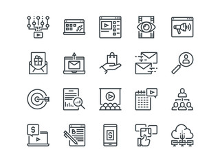 Digital Marketing. Set of outline vector icons. Includes such as Viral video, E-commerce, Analytics and other. Editable Stroke. 48x48 Pixel Perfect.