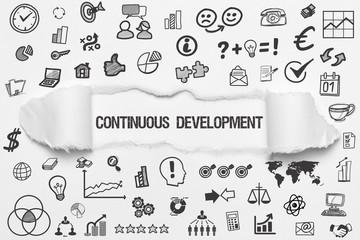 Continuous Development / weißes Papier mit Symbole