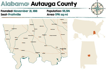 Large and detailed map of Autauga County in Alabama.