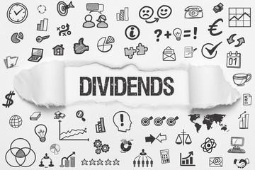 Dividends / weißes Papier mit Symbole