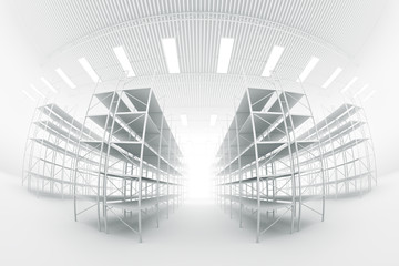 design element. 3D illustration. rendering. black and white empty warehouse
