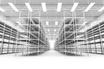 design element. 3D illustration. rendering. black and white empty warehouse
