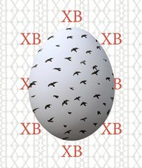 Пасхальное яйцо с птицами на фоне букв
