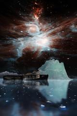 Icebergs under the Milky way.