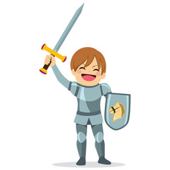 Cute little knight boy character with arm up holding sword