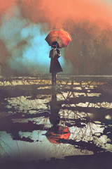 mysterious woman holds umbrella standing in a puddle with reflection of spooky forest, illustration painting
