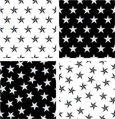 Silver & Black Color Nautical Star Aligned & Random Seamless Pattern Set