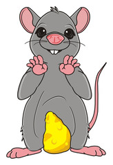 Animal, rodent, rat, mouse, cartoon, gray, teeth, tail, mustache, stand, cheese, food, yellow