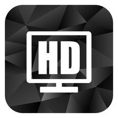 Hd display black color web modern brillant design square internet icon on white background.