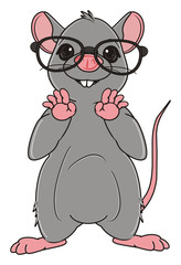 Animal, rodent, rat, mouse, cartoon, gray, teeth, tail, stand, black, glasses