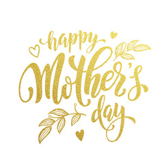 Happy Mother Day gold glitter text vector premium greeting card