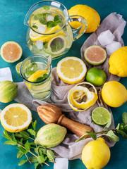 Homemade lemonade with mint and lemon