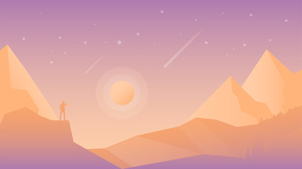 Flat design vector landscape with hiker silhouette on the mountain