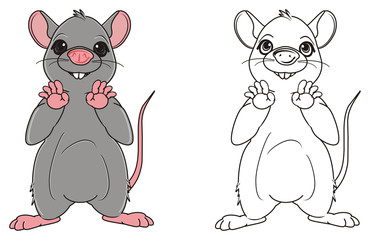 Animal, rodent, rat, mouse, cartoon, gray, teeth, tail, two, different, stand, coloring, line, paint, preschool