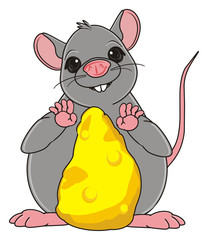 Animal, rodent, rat, mouse, cartoon, gray, teeth, tail, stand, fat, cheese