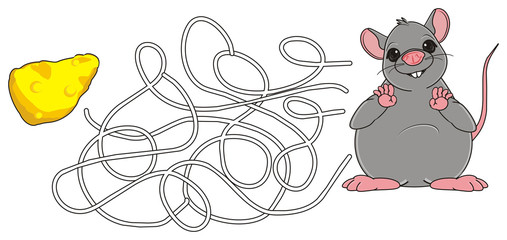 Animal, rodent, rat, mouse, cartoon, gray, teeth, tail, stand, far, Logic, task, look, labyrinth, find, cheese