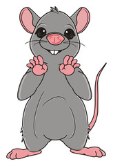 Animal, rodent, rat, mouse, cartoon, gray, teeth, tail, stand, rise up, paws