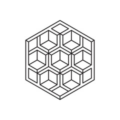 Optical illusion, impossible shape. Line design EPS 10