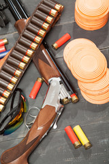 Clay pigeons and shotgun shells