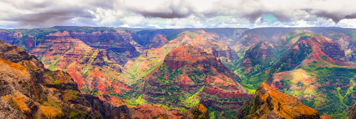 Panoramic view of dramatic landscape in Waimea cayon, Kauai