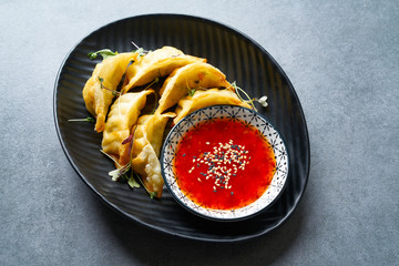 Steamed gyozas teriyaki sauce and sesame