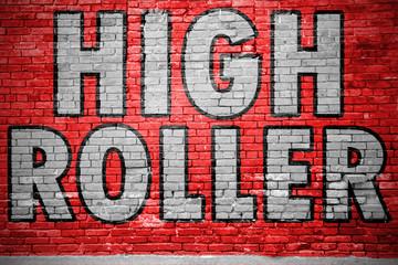 High Roller Ziegelsteinmauer Graffiti