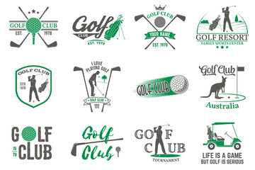Set of Golf club concept with golfer silhouette.