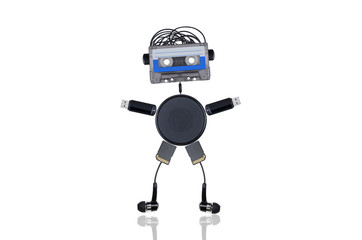 the robot consists of audiotapes and multiple gadgets isolated on white background welcomes you