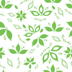Seamless pattern with green hand drawn leaves on white background.