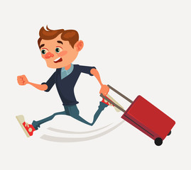 Worried man office worker character run hurry holding bag and late for transport. Vector flat cartoon illustration