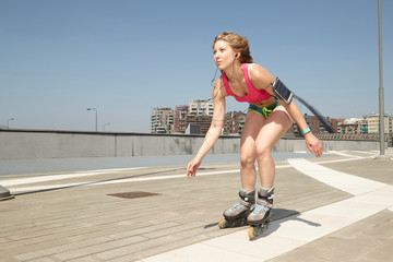girl on roller skates in urban environment