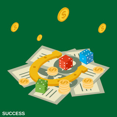 Success flat isometric vector concept illustration