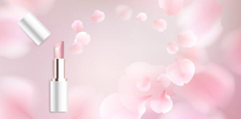 Lipstick cosmetics vector illustration background