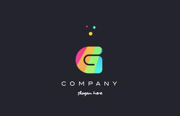g colored rainbow creative colors alphabet letter logo icon