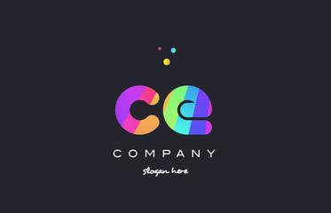 ce c e  colored rainbow creative colors alphabet letter logo icon