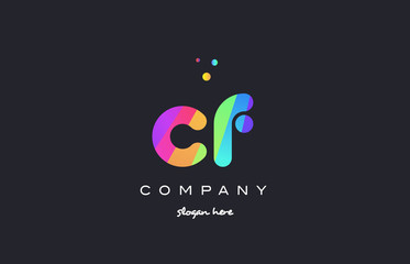 cf c f  colored rainbow creative colors alphabet letter logo icon