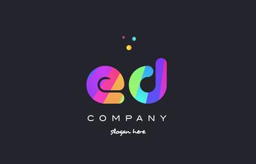 ed e d  colored rainbow creative colors alphabet letter logo icon