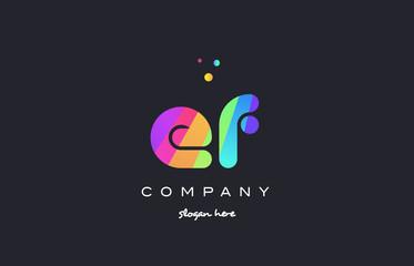 ef e f  colored rainbow creative colors alphabet letter logo icon