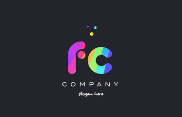 fc f c  colored rainbow creative colors alphabet letter logo icon