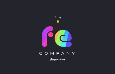 fe f e  colored rainbow creative colors alphabet letter logo icon