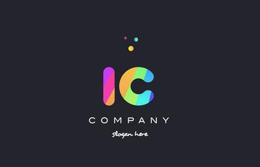 ic i c  colored rainbow creative colors alphabet letter logo icon