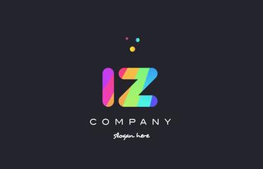 iz i z  colored rainbow creative colors alphabet letter logo icon